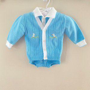 Vintage Boys Two Piece Sweater Romper Set 3 Months